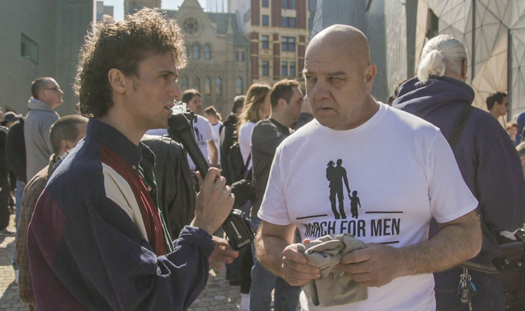 Pictured: Marty Smiley at Melbourne's March for Men.